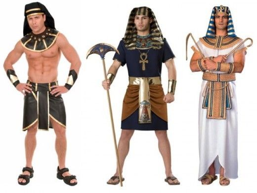 Egyptian Clothing: Pharoahs to Commoners. Ancient Egyptians. For more information on Egyptian clothing and other counter-intuitive facts of ancient and medieval history, Egyptian Clothing For Men. All men wore a wrap-round skirt that was tied at the waist with a belt. Sometimes the material was wrapped around the legs as well.